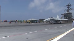 The Navy's unmanned X-47B conducts flight operations Stock Footage