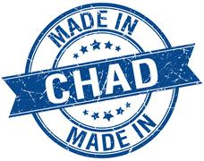 Made in Chad blue round vintage stamp Stock Illustration