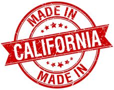 made in California red round vintage stamp - stock illustration