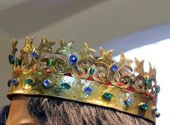 Crown of gold and other precious Gemstones - stock photo