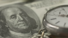 Benjamin Franklin 100 dollar bill, money, time, financial system Stock Footage