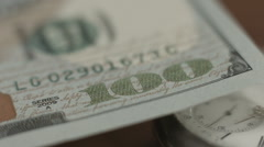New 100 dollar bill U.S. paper money closeup, counterfeit note Stock Footage
