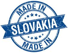 made in Slovakia blue round vintage stamp - stock illustration