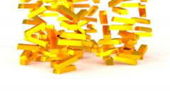 Animated falling bars of gold against white background b 1080p Stock Footage