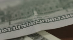 In God we trust motto on one hundred-dollar bill, closeup Stock Footage