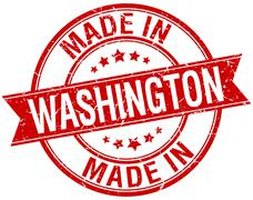 made in Washington red round vintage stamp - stock illustration