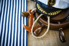 Decorative wooden ship anchored at the helm - stock photo