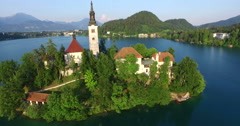 Beautiful aerial view of Slovenian lake Bled in Julian Alps. Stock Footage