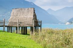 paleolithic pile-dwelling - stock photo