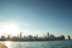 Time laps sun over Chicago - stock footage