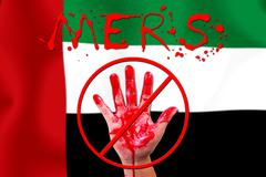 Concept show hand stop MERS Virus epidemic  United Arab Emirates flag backgro - stock illustration