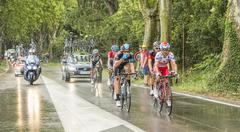 Stock Photo of Group of Cyclists in a Rainy Day - Tour de France 2014
