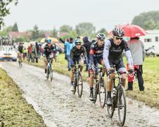 The Cyclist Danny van Poppel on a Cobbled Road - Tour de France 2014 Stock Photos