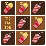 Stock Illustration of Tic-Tac-Toe of beverages cup with straw and popcorn