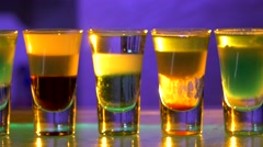 Different delicious cocktails, shots, dolly shot Stock Footage
