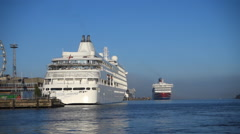 The cruise ship Silver Whisper in Helsinki harbour - stock footage