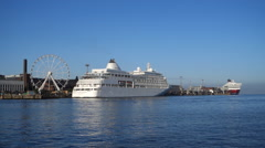 The cruise ship Silver Whisper in Helsinki harbour Stock Footage