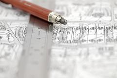 Architecture plan, ruler & pencil - stock photo