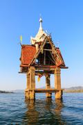 Flooding temple in Sangklaburi Thailand. - stock photo