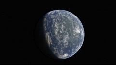 Approaching track shot of a blue planet with stars Stock Footage