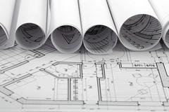 rolls of architecture blueprint & house plane - stock photo