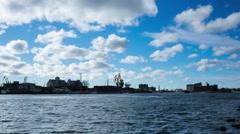 Ship in a port of Kaliningrad Stock Footage