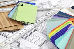 Stock Photo of color samples of architectural materials - plastics,  metric folding ruler an