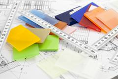 color samples of architectural materials - plastics,  metric folding ruler an - stock photo