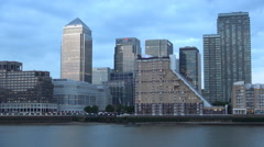 Timelapse Canary Wharf Thames Tourists Boat River Panorama Business Finance Area Stock Footage