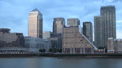 Time Lapse Canary Wharf Greenwich Area Business Thames Tourists Boat Activity Stock Footage