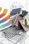 Stock Photo of palette of colors designs for interior works, samples of plastics, PVC, for f