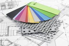 palette of color samples of plastics, PVC, for furnishing, perforated metal, - stock photo
