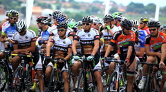 Cycling Event - Bauru, Sao Paulo, Brazil. Cycling Road Race Starting Line - stock footage