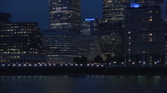 Canary Wharf Night View City Lights Thames River London Business Center View Stock Footage