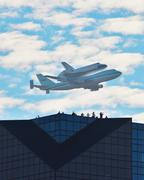 Shuttle Flyover - stock photo