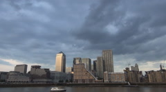 Stock Video Footage of Canary Wharf London Financial Center Banking Interest Place Sunset Thames River