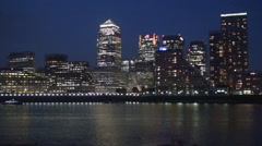 London Stock Exchange Business Center Thames Passenger Ship Night Lights View Stock Footage