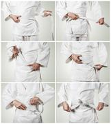 Karateka belt tying step by step pictures - stock photo