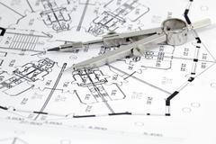Architecture plan of interior & compass Stock Photos