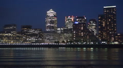 Canary Wharf Financial Center Cityscape Lights Buildings Silhouette Nightfall Stock Footage