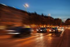 City traffic in night Stock Photos