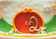 Decoration of Second Birthday Cake - stock photo