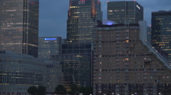 London Business Center City Night Lights View Canary Wharf Bank Corporations UK Stock Footage