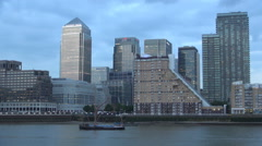 Canary Wharf Famous Money Center Business Headquarter Thames Shipping Activity  Stock Footage