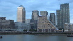 Canary Wharf London Financial Center Thames Traffic Boats Evening Sunset View Stock Footage