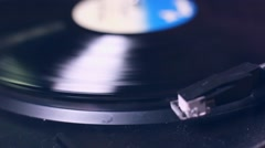 Record playing on turntable Stock Footage