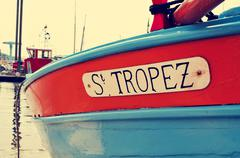 St. Tropez written in a boat, with a retro effect - stock photo