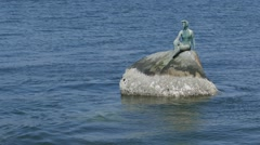 Girl in Wet Suit - Landmark Statue - Vancouver Seawall Stock Footage