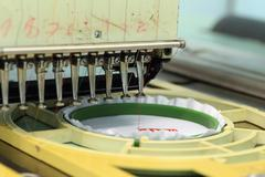 closed-up of Machine embroider - stock photo