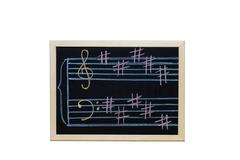 music staff in key B  written on blackboard - stock photo